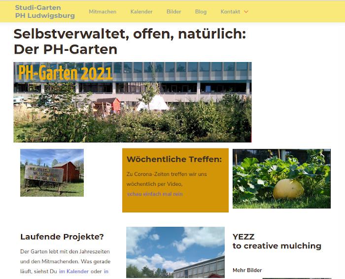 Screenshot der Website www.ph-garten-ludwigsburg.de